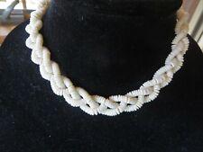 "Vintage Necklace Ivory White Shells 3 Strands Twisted 15"" Barrel Clasp"
