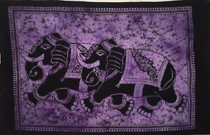 Poster Tapestry Wall Hanging Running Elephant Design Cotton Small Handmade