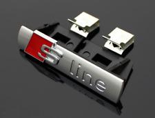 AUDI S Line Silver Red 3D Grille Emblem for Audi A1 A3 A4 A5 A6 A7 A8