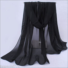 Women Fashion Solid Black Color Long Soft Chiffon Scarf Wrap Shawl Stole Scarves