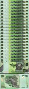 Congo 1000 Francs 2013, UNC, 20 Pcs LOT, Consecutive, P-101b