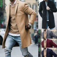 Fashion Men's Sleeve Jacket Wool Coat Winter Trench Coat Outwear Overcoat Long