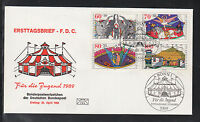 Germany 1989 FDC - Welfare Fund, Circus, Clown, Elephants, Horse, Acrobat