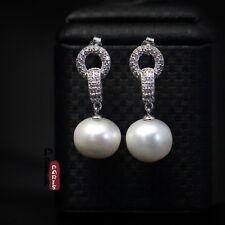 Boucles d`Oreilles Belle Perle de Culture Baroque Gros Blanc Argent 925 Anneau