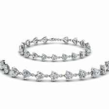 9ct Heart Cut VVS1 D Diamond Love Valentine Tennis Bracelet 14k White Gold Over