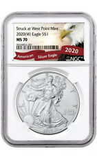 2020 (W) Silver Eagle Struck At West Point NGC MS70 Eagle Label