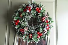 "Vintage ""Christmas around the world"" 16"" Pinecone &Holly Wreath"