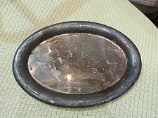 ancien petit plateau ovale en metal argenté bistrot