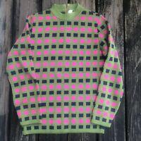 Vtg Sweater Sportissimo S M Crew Neck Pink Green 70s 80s Womens Geometric Square