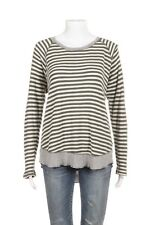 P.J. SALVAGE Sweater Top Large Cotton Green Cream Gray Striped Long Sleeve Shirt