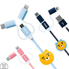 Genuine Kakao Friends 3in1 Cable(25cm) 8-Pin/Micro/Type-C All Mobile iPhone