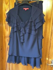 Jaques Vert 2 Piece Set Size 12 Top Skirt  Navy Blue