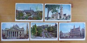 Brussels, Belgium - 5 No. Vintage Postcards - Date as Nov 1944 on rear.