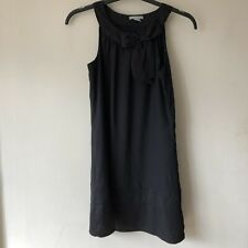 H&M Women's Size UK 6 Sleeveless Black Tunic Blouse Polyester Long Top Bow Neck