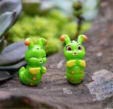 2x Mini Cute Caterpillar Garden Ornament Micro Landscape Green Fairy Decor Gifts
