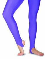 LEGGINGS With Stirrups Shiny Lycra. Adults & Childrens  Choice of Colours NEW