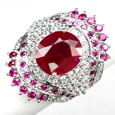RUBY BLOOD RED OVAL 9.20 CT.SAPPHIRE 925 STERLING SILVER RING SZ 8.5 GIFT WOMEN