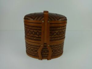 Vintage Sewing Box Traditional Chinese Wedding Wicker & Bamboo Double Tier Craft