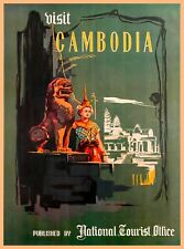 Visit Cambodia Southeast Asia Vintage Asian Travel Advertisement Poster Print