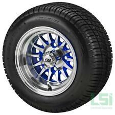 (4)Golf Cart 205/50-10 Tire on 10x7 Machined/Blue 14-Spoke Wheel Free Freight