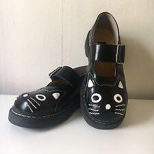 T.U.K. ANARCHIC Womens Shoes Black/White Cat US Ladies 8 Leather Mary Jane TUK