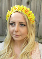 Yellow Daffodil Narcissus Spring Flower Garland Headband Hair Crown Floral 1872