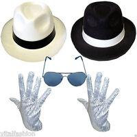 NEW DELUXE MICHAEL JACKSON HAT & SEQUIN GLOVE FANCY DRESS GANGSTER COSTUME SET