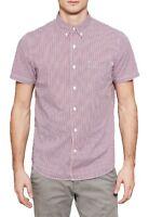 Timberland Mens Cotton Suncook Check Shirt Regular Short Sleeve Button Down Red