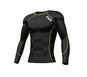 FDX Mens Compression Armour Base Layer Top Long Sleeve Thermal Multi Sport Shirt