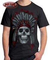 INDIAN DAY of the DEAD SUGAR SKULL T-SHIRT Tee ~ Muertos ~ Chief w/ Headdress