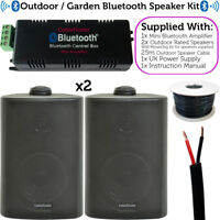 Garden Party/BBQ Outdoor Speaker Kit–Wireless Mini Stereo Amp & 2 Black Speakers