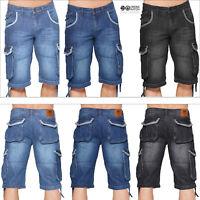 Crosshatch Mens Newberg Cargo Knee Length Regular Fit Turn Up Denim Jean Shorts