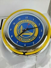 Wall Clock Golden State Warriors Design Neon Ring Polished Chrome Man Cave