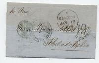 1854 Glasgow to Philadelphia transatlantic stampless [H.584]