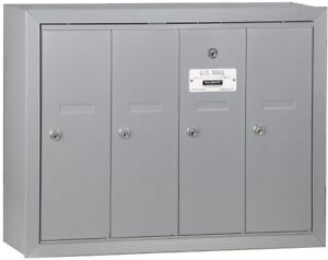 Vertical Mailbox 4-Door Aluminum Surface-Mounted USPS Access Corrosion Resistant