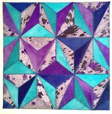 SURYA Leather Hair on Hide Rug Carpet Tile Wall Art Purple Blue Teal 18x18