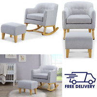 Babylo Haven Rocking Chair with Footstool - Grey with Beech Wood Nursing Chair