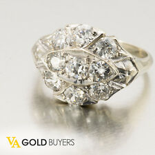 1930s Art Deco 1.70ctw Old Mine Cut Diamond Cluster Ring R0251 *FREE SHIPPING*