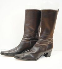 SERGIO ROSSI Chocolate Brown Leather Flat 3/4 Length Cream Stitch Boots EU38.5