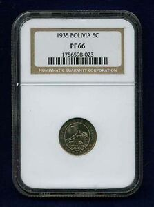 BOLIVIA REPUBLIC  1935  5 CENTAVOS COIN, CERTIFIED PROOF BY NGC PF-66
