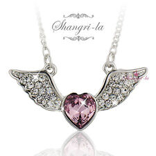 18K WHITE GOLD GF Pink Love HEART ANGLE WING NECKLACE SWAROVSKI CRYSTAL SX4106