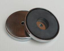 1x 67mm x 9.5mm 6mm mount hole Pot Magnet Chrome plated new workshop storage