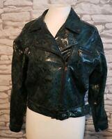 Elli White green Snakeskin PU Biker Jacket Size S/M faux leather pleather vegan