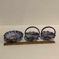 VTG Vestal Alcobaca Portugal Ceramic  Basket 456  Blue Hand Painted Lot Of 3.