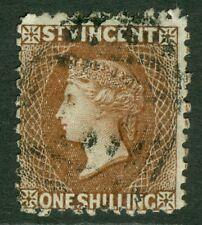 SG 14 St Vincent 1869. 1d brown, no WMK, perf 11-12½. Fine used CAT £160