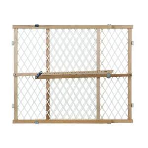 white wood doorway diamond mesh gate