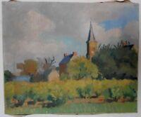 Tableau ancien huile sur toile paysage breton église village de Bretagne