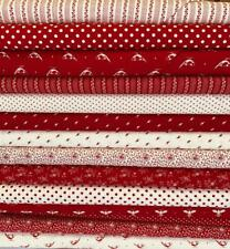 MODA BUNNY HILL MY REDWORK GARDEN 100% COTTON FABRIC SOLD BY 1/2 METER  OR FQ BU