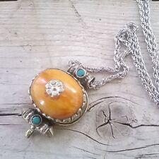 Colgante Tibetano resina ambar amuleto colgante plata tibetana y turquesa unisex