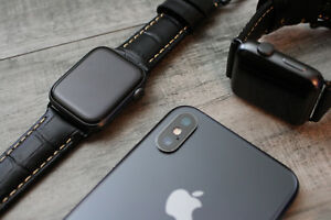 For Apple Watch Series 7 6 5 42/44mm Black Croc Style Leather Strap iwatch Band